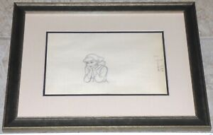 WALT DISNEY CINDERELLA 1950 FRAMED ORIGINAL PRODUCTION CEL DRAWING ERIC LARSEN $1,395.00