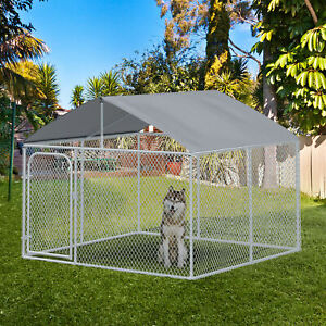 PawHut 7.5#x27;x7.5 Large Outdoor Dog Kennel Galvanized Steel Fence with Roof and $289.99