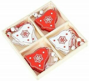 12PCS Xmas Decorations Wooden Ornaments Christmas Tree Hanging Pendants Bell