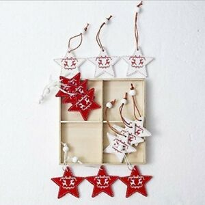 12PCS Xmas Decoration Wooden Ornaments Christmas Tree Hanging Pendants Stars