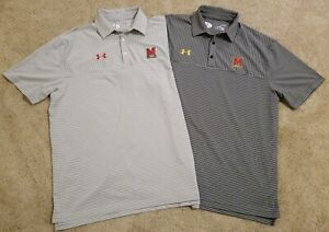 Lot of 2 Mens Under Armour Heat Gear Maryland Polo Shirts - XL