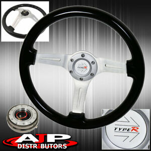 Gunmetal Slim Quick Release Black Wood Grain Trim Aluminum Center Steering Wheel
