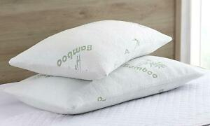 Bamboo Shredded Memory Foam Pillow with Hypoallergenic Bamboo Cover | Queen Size