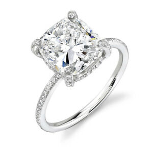 3.20ct Cushion Diamond Pave Engagement Ring GSI1 GIA - Unique Design 18K Gold