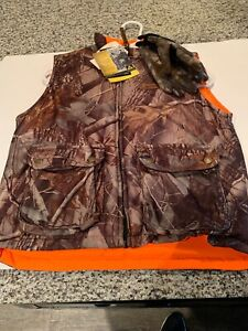 Boys Woolrich Camo Vest Youth Orange Reversible Mossy Oak Hunting Outdoors