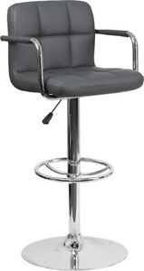 Brown Quilted Vinyl Adjustable Height Barstool with Arms and Chrome Base