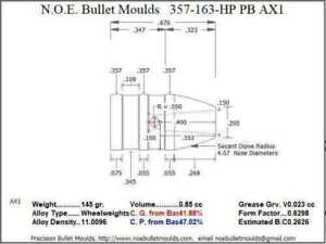 Bullet Mold 4 Cavity Brass .357 caliber Plain Base 163 Grains bullet with a Fla