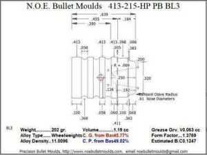 Bullet Mold 4 Cavity Brass .413 caliber Plain Base 215 Grains bullet with a Wad