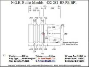 Bullet Mold 4 Cavity Brass .432 caliber Plain Base 281 Grains bullet with a Wid