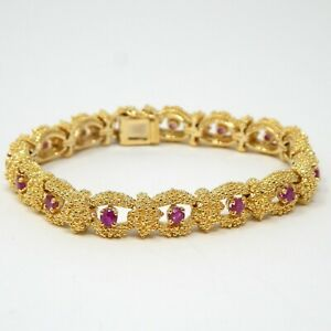 HEAVY 44.9 Gram Solid 18 kt Yellow Gold Textured Ruby Bracelet 6 1 2quot; A7800