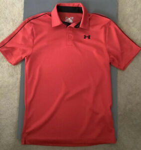 Under Armour Heat Gear Loose Short Sleeve Red Polo Shirt 100% Polyester Small