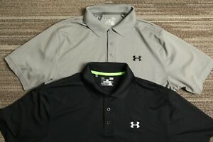 Under Armour Men's lot of 2 solid gray and black Golf polo shirts Large L