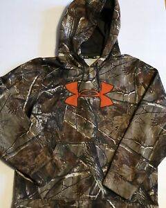 Under Armour Realtree Camo Orange Logo Boys Sweatshirt Hoodie Size Large $26.00