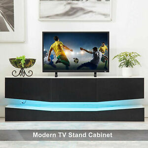 TV Stand High Gloss Floating Cabinet Console Furniture w RGB LED Shelves $125.99