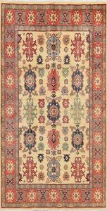 Decorative Ivory/Red Super Kazak Oriental Area Rug Hand-Knotted Carpet 5'x7'