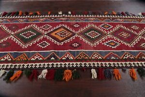 Antique Nomadic Tribal Kilim Qashqai Wool Rug South-western Vegetable Dye 4x15
