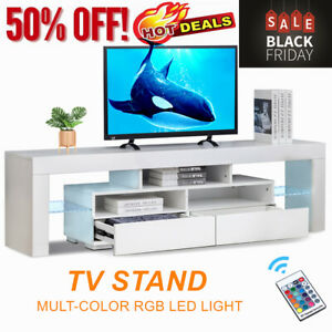 High Gloss 63#x27;#x27; TV Stand Unit Cabinet Console Table RC with Colorful LED Lights $167.99