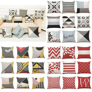 Latest Throw Cotton Waist Home Case Geometric Pillow Cover Sofa Cushion Decor $3.15