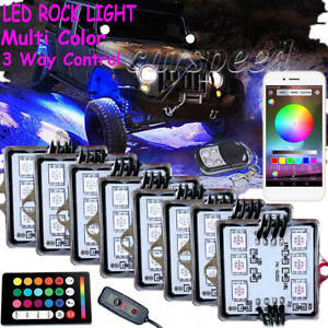 8 Pod RGB LED Rock Light Under glow Neon bluetooth Control For Car Truck Offroad $51.59