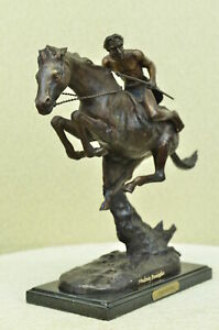 Cheyenne by Frederic Remington Solid Bronze Sculpture Statue Signed  Free Ship