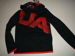 NWT Under Armour Boy's ColdGear Small Black Red Camo Fleece Hoodie $24.99