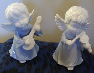 B & A Ceramic Figurine Angels 2 Angels Playing Stringed Instruments