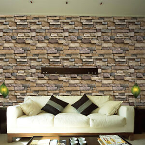 3D Wall Paper Brick Stone Rustic Effect Self-adhesive Wall Sticker Home Decor G