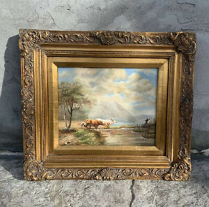 """Beautiful 15.5""""x13.5"""" Framed Rare Oil Painting Cow Farm Antique Style"""
