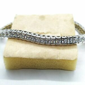 6.00 Ct White Princess Cut Diamond Tennis Bracelet 14K White Gold Men#x27;s Women#x27;s