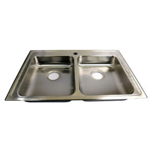 Elkay Double Bowl Kitchen Sink Gourmet Lusterstone One-Hole 33