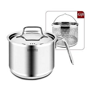 Premium IH Stainless Steel Milk Pan Pasta Pots Steamer Multipots with Lid 2.2L
