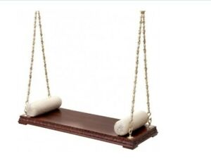 Ceiling Swing without arms & back Wooden hand carved Love seat With Metal Chain
