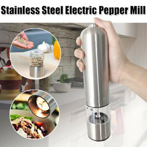 Electric Salt Spice Pepper Herb Mills Grinder Stainless Steel with LED Light