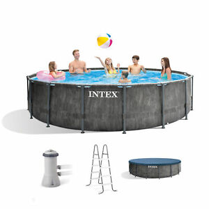 Intex 15ft x 48in Greywood Prism Steel Frame Pool Set with Cover, Ladder,