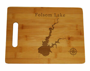 Folsom Lake Map Engraved Bamboo Cutting Board 9.75x13.75 inches California