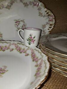 D'AUTEUIL ELITE WORKS Bridal Wreath BOWO DOTTER France Bowl Cake Plate Cup LOT