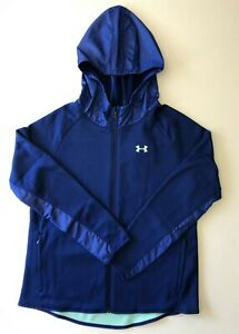 New Under Armour Hoodie Girls Strom Water Resistant Blue Size YXL with Tags $58.90