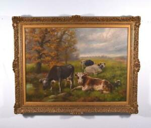 Antique Belgian Impressionist Oil on Canvas Painting of Cows in a Field