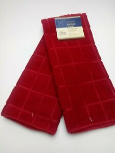 Kitchen Dish Hand Towels Brand New Solid Red Color- Set of 2!