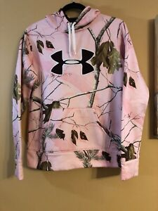 Under Armour Pink Loose Fit Realtree Camo Pullover Hoodie Women's Medium $35.00
