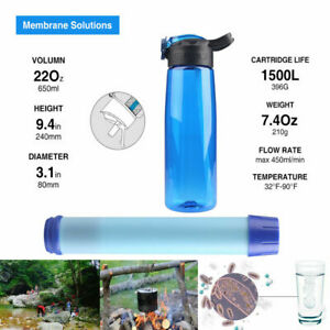 Filtering Water Bottle w/ Replaceable 3Stage Filter BPA Free Backpacking Hunting