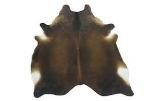 Large Cowhide Rugs 6x7 ft Exotic Brown Genuine Cow Skin Hair on Rug Unique Gift