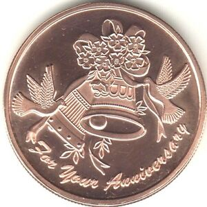 7th Copper Wedding Anniversary coin Doves Bells Medallion front clear coated
