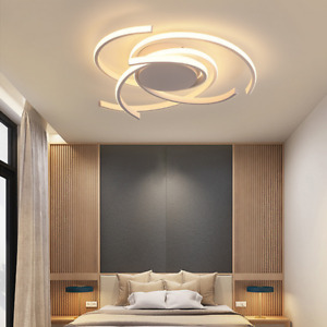 Modern Ceiling Lights LED Lamp Living Bedroom Dimmable Remote Control 72W White
