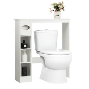 Wooden Over the Toilet Home Cabinet Bathroom Space Saver w/Paper Holder White