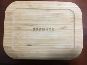 EREWHON Glass and Bamboo Meal Prep Container-3 Compartments-Food Storage Box NEW