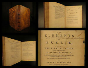 1756 1ed Elements EUCLID Greek Mathematics Logic Geometry Math Glasgow Scotland