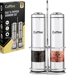 Electric Salt and Pepper Grinder set, stainless steel, with stand