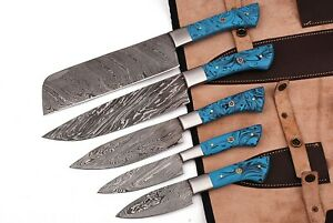 HAND FORGED DAMASCUS STEEL CHEF KNIFE KITCHEN SET WITH RESIN HANDLE - AJ 917