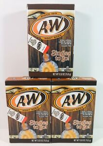 Aamp;W Root Beer Drink Mix Singles to Go 3 Boxes 6 Packets Each